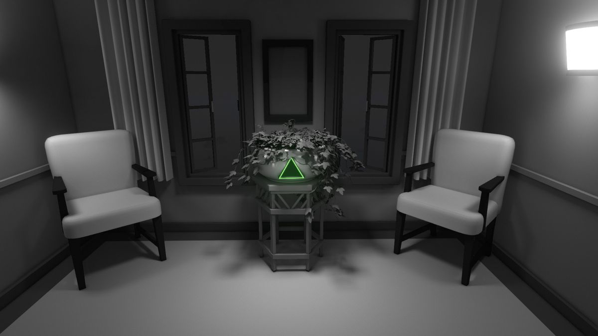 Two chairs sit on either side of a plant in a black and white world of Discolored. In front of the plant is a small green triangle.