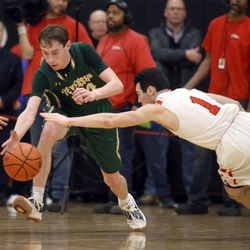 Stevenson,'s Matthew Ambrose (24) and Benet Academy's Charlie Dollard (1) chase the loose ball in Lisle, Saturday, February 16, 2019.   Kevin Tanaka/For the Sun Times