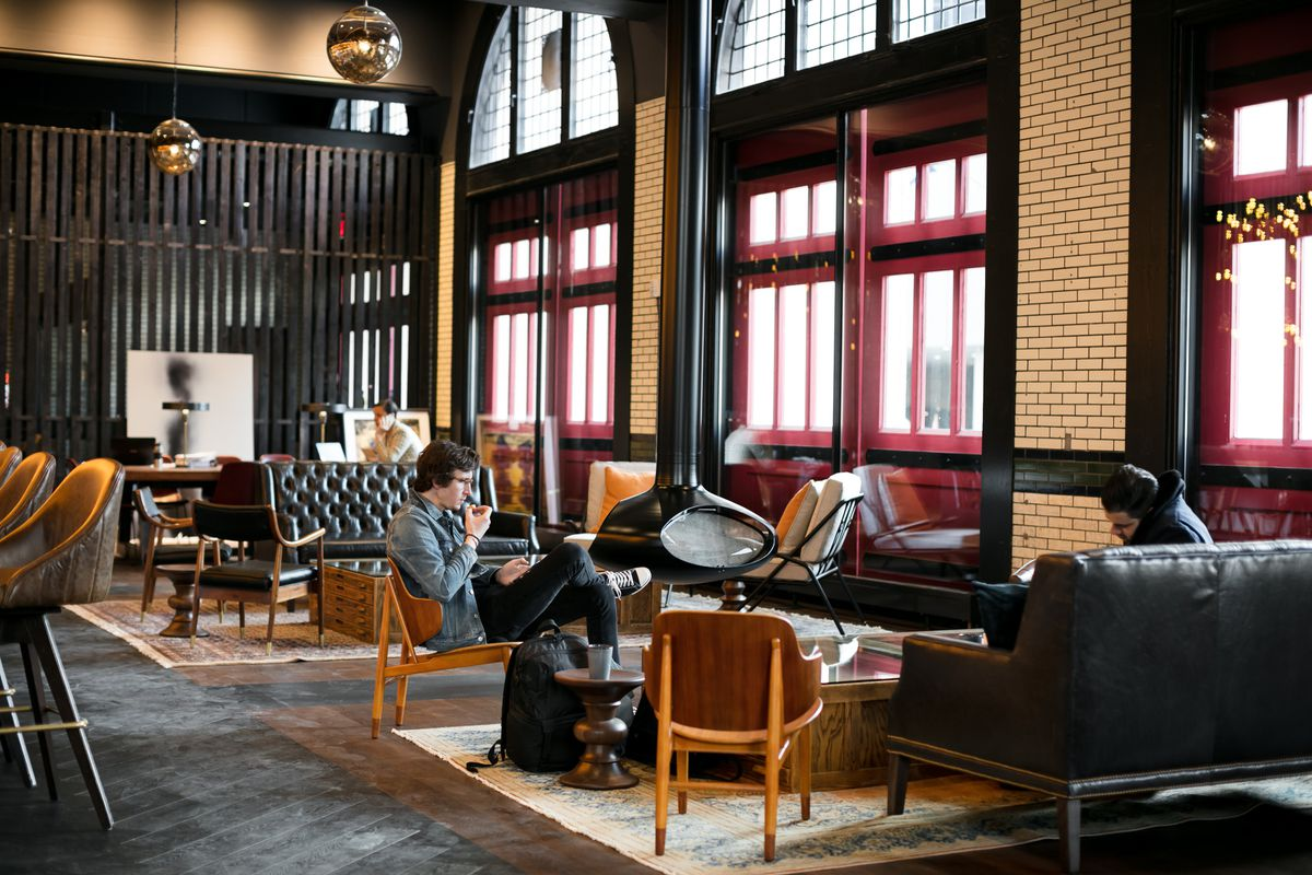 Couches and chairs in the lounge area of the Apparatus Room.