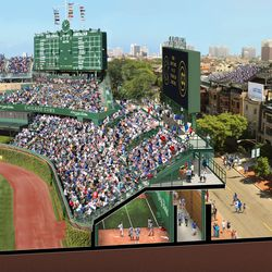 View of right-field bleachers with proposed new seating and bullpen underneath