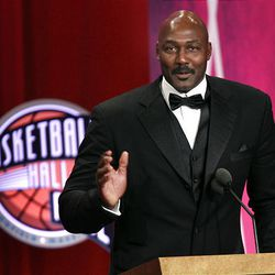 Basketball Hall of Fame inductee Karl Malone speaks during his enshrinement news conference at the Hall of Fame in Springfield, Mass., on Friday.