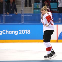 Haley Irwin #21 of Canada reacts after the game.