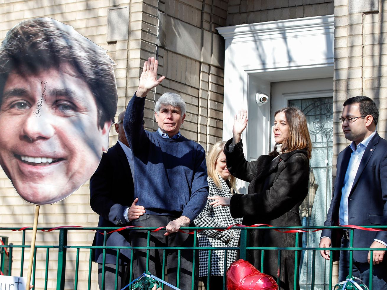 Former Illinois governor Rod Blagojevich and his wife Patricia Blagojevich wave to supporters outside of their house on February 19, 2020 in Chicago, Illinois.