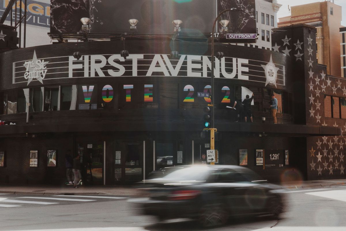 The black exterior adorned with painted stars of First Ave in downtown Minneapolis