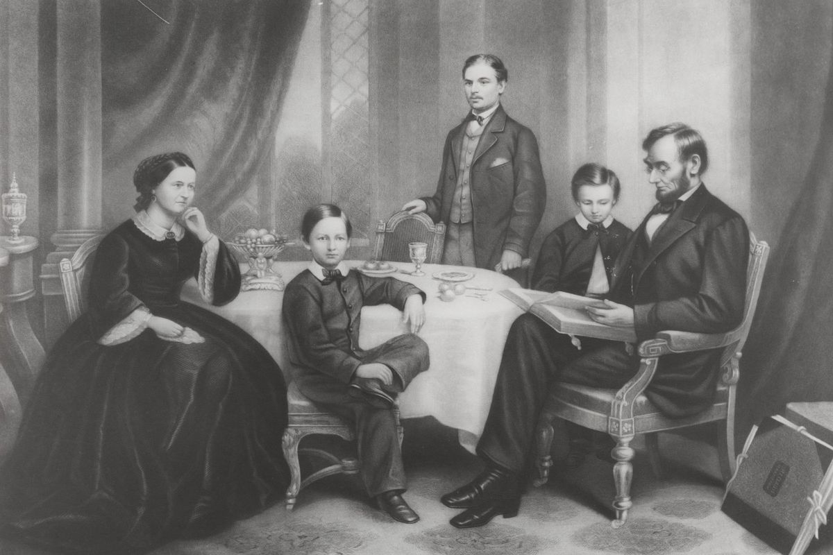 This illustration is of Abraham Lincoln with his wife Mary Todd Lincoln and their three sons in 1865.
