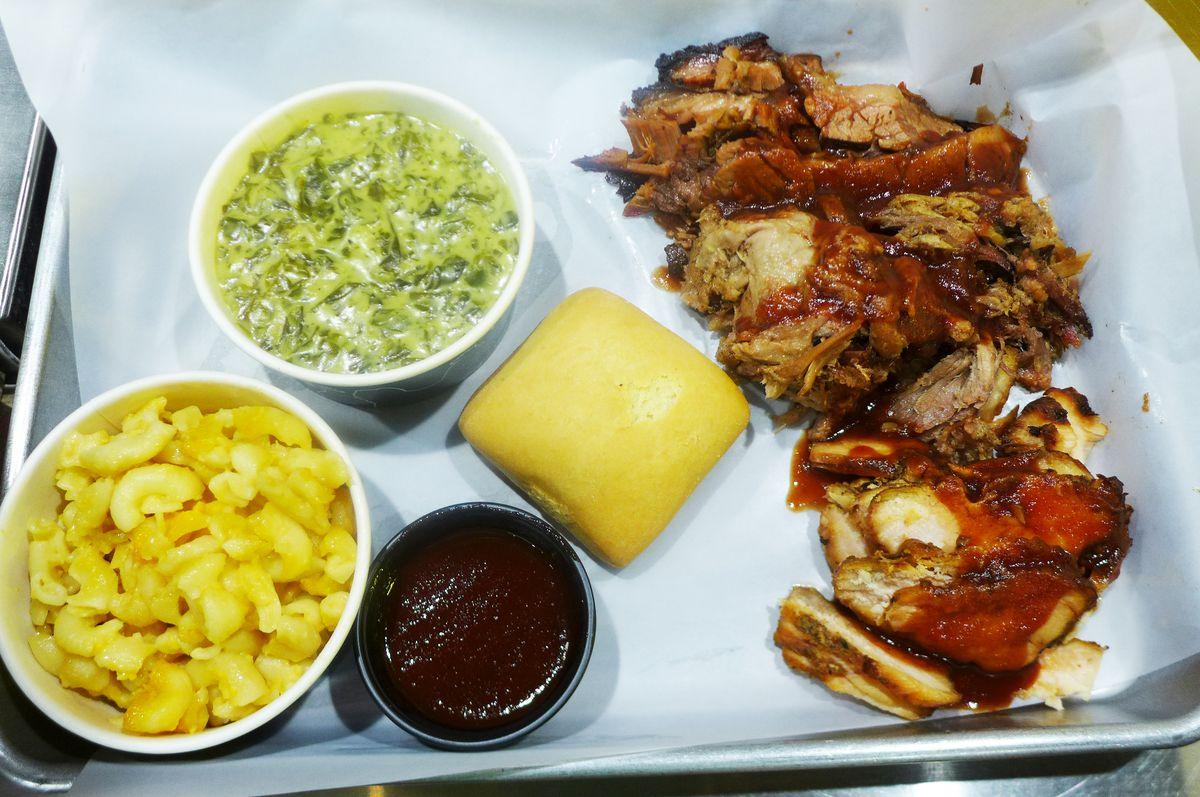 Top to bottom: brisket, pulled pork, chicken