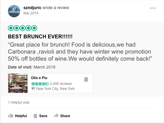 A screenshot of a TripAdvisor review from user szndjuric, from a March 2019 visit.