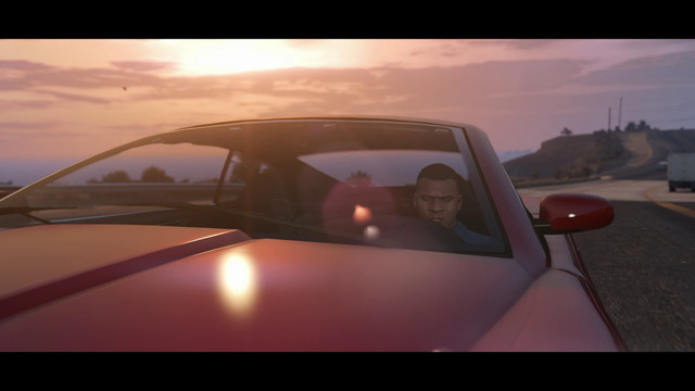 Franklin driving a red car in Grand Theft Auto 5 on PS5