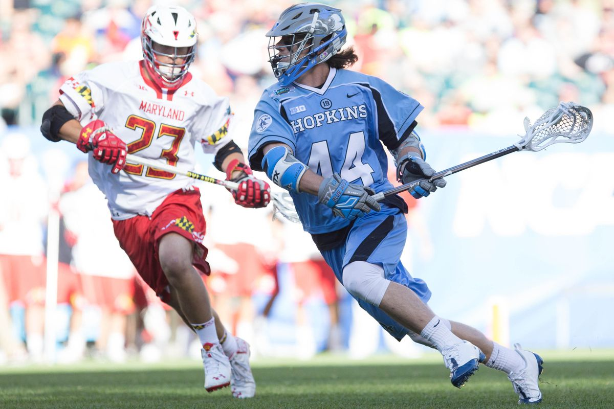 John Crawley of Hopkins does work against the Terps in the semifinals last year.