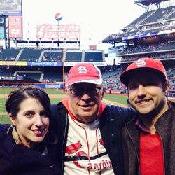 """My husband, father-in-law, and I hit up a baseball game. They're diehard St. Louis Cardinals fans, so I wore the reddest lip color I could find: <b>MAC</b> <a href=""""http://www1.macys.com/shop/product/mac-retro-matte-lipstick?ID=1058561&pla_country=US&cm_m"""