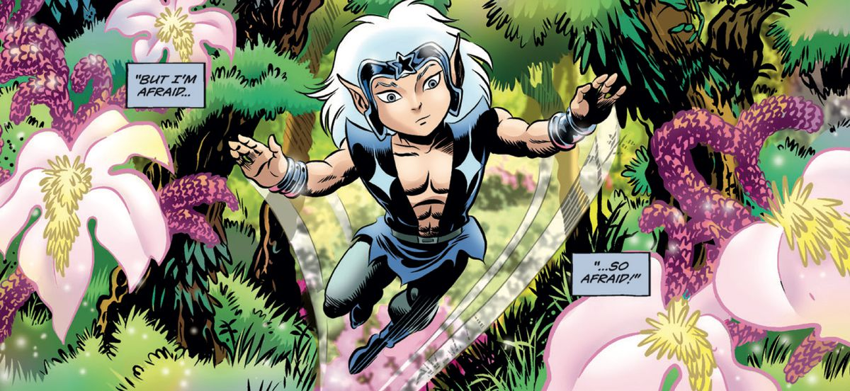The elf Skywise zooms through his lush forest home in ElfQuest: Stargazer's Hunt #1, Dark Horse Comics (2019).