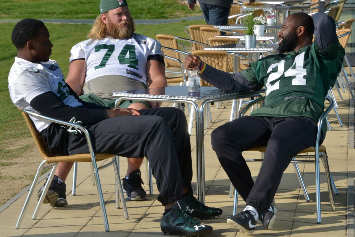 Revis and Marshall during happier times.
