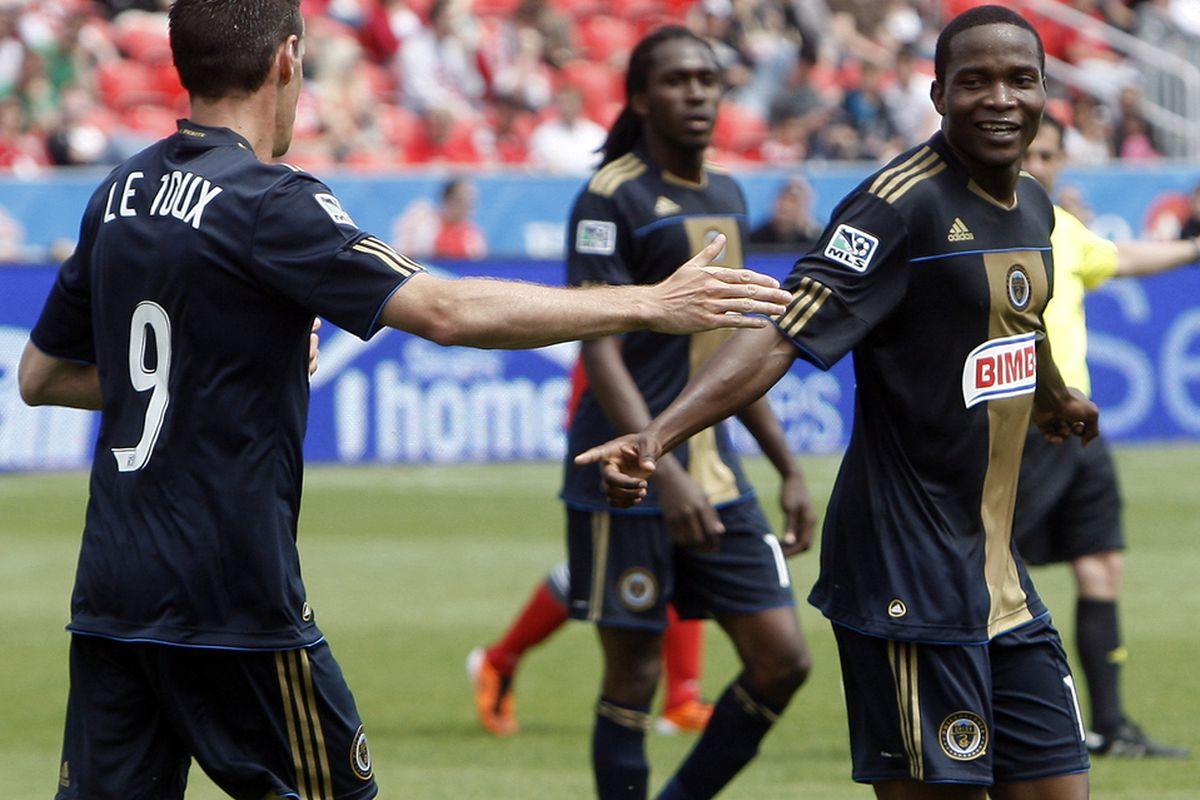 TORONTO, CANADA - MAY 28: Sebastien Le Toux #9 and Danny Mwanga #10 of Philadelphia Union celebrate Danny Mwanga goal against Toronto FC during MLS action at BMO Field May 28, 2011 in Toronto, Ontario, Canada. (Photo by Abelimages/Getty Images)
