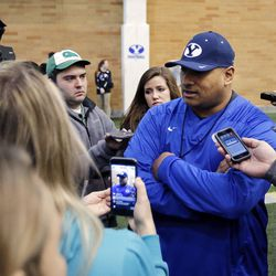 Head coach Kalani Sitake is interviewed following Brigham Young University football practice in Provo on Monday, Feb. 27, 2017.