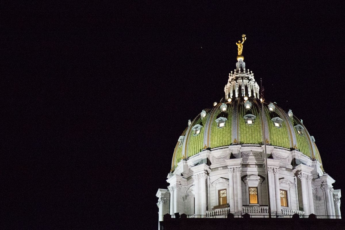 State capitol at night.