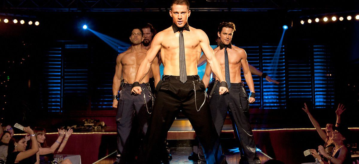 Channing Tatum onstage shirtless with other strippers in 'Magic Mike'