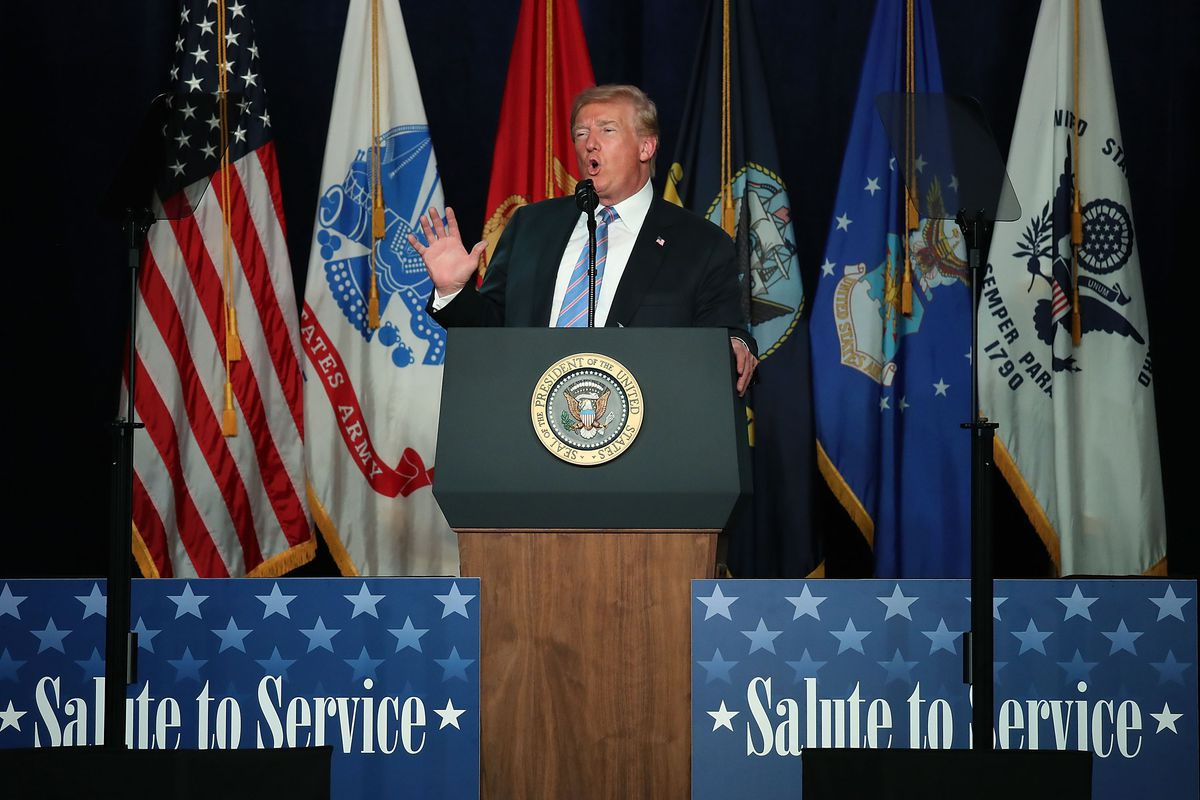 President Trump Delivers Remarks At Salute To Service Dinner In West Virginia