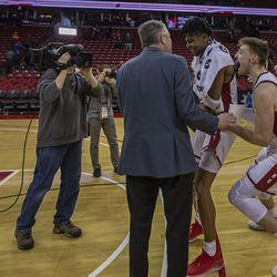 The team was all smiles in postgame.