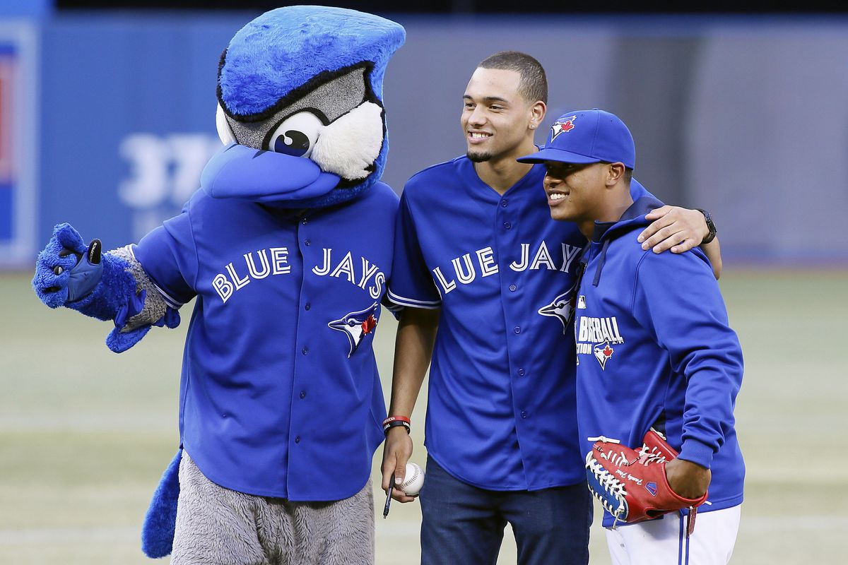 Tyler Ennis, repping his hometown Toronto Blue Jays, oh you betcha