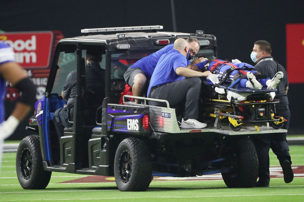 Brigham Young Cougars defensive back Keenan Ellis (2) is injured during the Vegas Kickoff Classic.