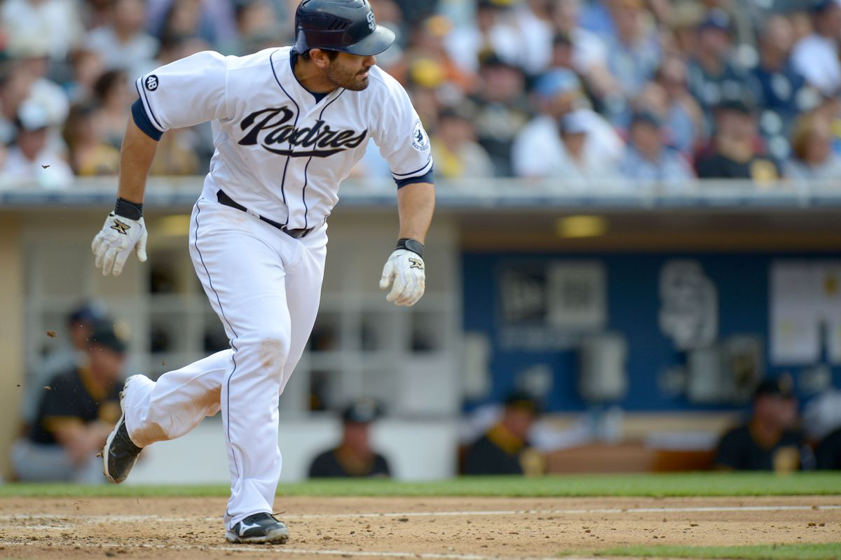 Aug 22, 2012; San Diego, CA, USA; San Diego Padres left fielder Carlos Quentin (18) grounds out during the seventh inning against the Pittsburgh Pirates at Petco Park. Mandatory Credit: Jake Roth-US PRESSWIRE