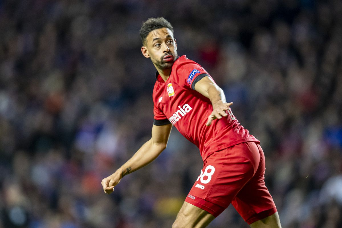 Europa League, Glasgow Rangers - Bayer Leverkusen, knockout rounds, last sixteen, first legs at Ibrox Stadium. Leverkusen's Karim Bellarabi looks back.