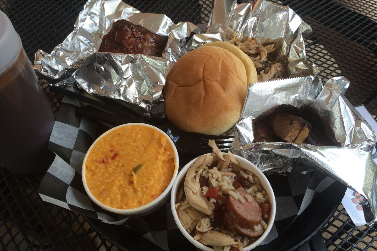 Our sample platter at Woody's Smoke Shack.