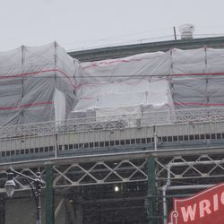 Another tighter view of the upper deck patio work, above the marquee