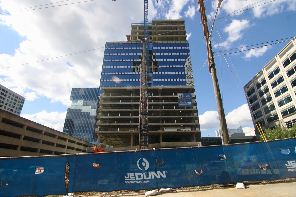 Coda and the under-construction Anthem tower, as seen from 3rd Street last week.