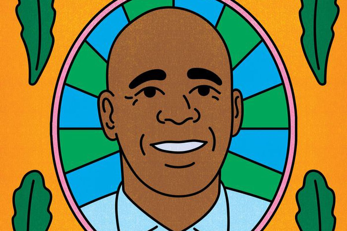 An illustration of Democratic mayoral candidate Eric Adams surrounded by an orange background and four stalks of leafy lettuce