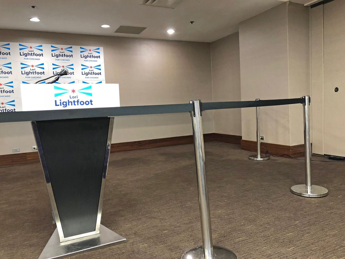 The front of the room was cordoned off before mayoral challenger Lori Lightfoot formally announced her candidacy Thursday morning at the Hyatt Regency Chicago on Wacker Drive. | Fran Spielman/Sun-Times