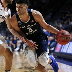 Brigham Young Cougars guard Elijah Bryant (3) drives against St. Mary's Gaels forward Calvin Hermanson (24) during a West Coast Conference semifinals game at the Orleans Arena in Las Vegas on Monday, March 06, 2017.