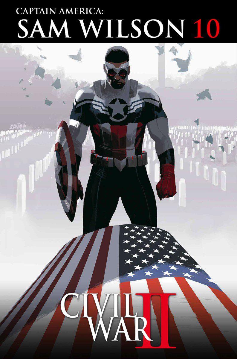 Sam Wilson / Capitán América se para sobre un ataúd cubierto con la bandera estadounidense en Arlington, vestido con su traje rojo, blanco y azul de Capitán América sin alas, con el escudo del Capitán América en su brazo, en la portada del Capitán América: Sam Wilson # 10, Marvel Comics (2016).