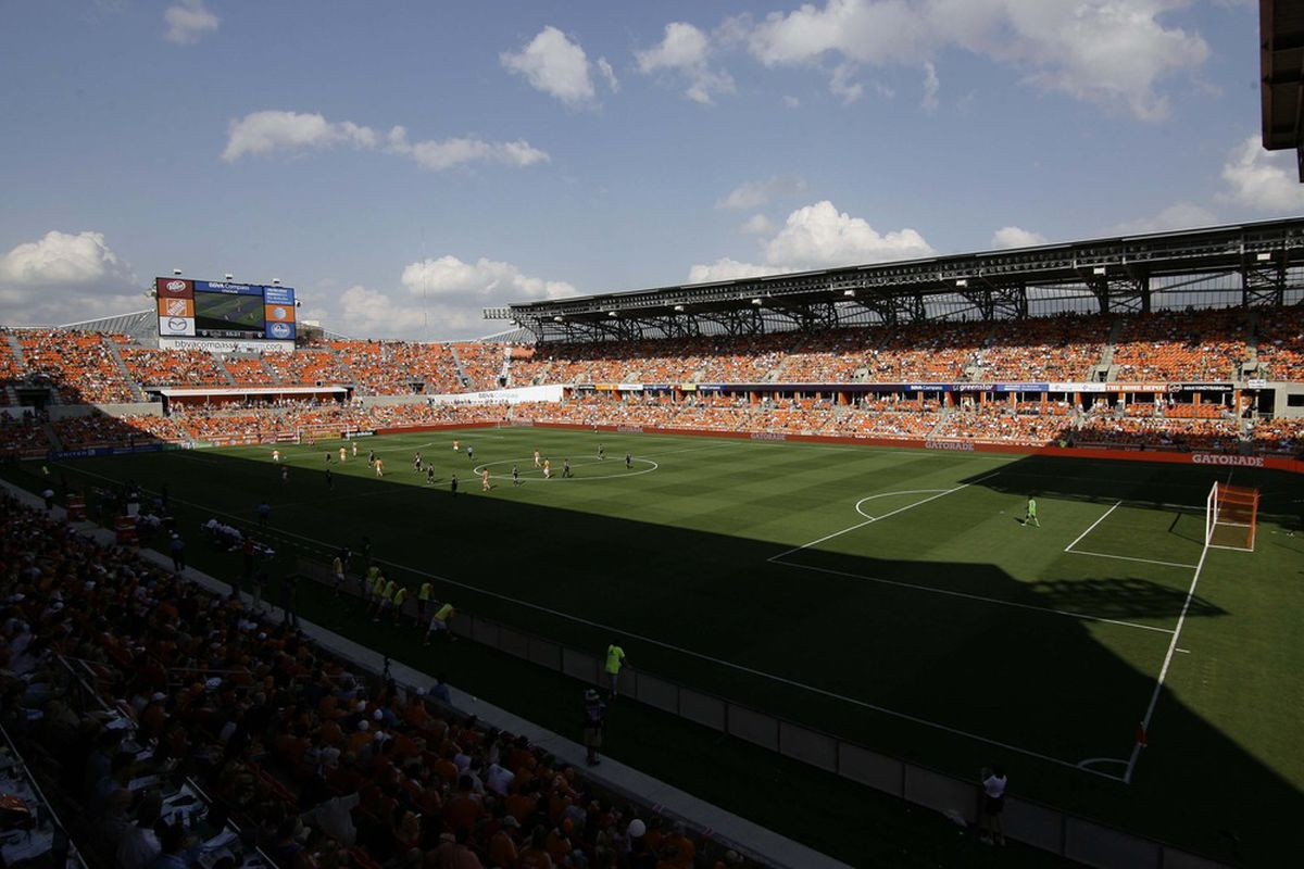 May 12, 2012; Houston, TX, USA; General view of BBVA Compass Stadium during a game between the Houston Dynamo and D.C. United in the second half. Mandatory Credit: Brett Davis-US PRESSWIRE