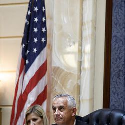 New Senate President Michael G. Waddoups at the start of the 2009 session of the Utah Legislature at the Capitol building in Salt Lake City, Monday.