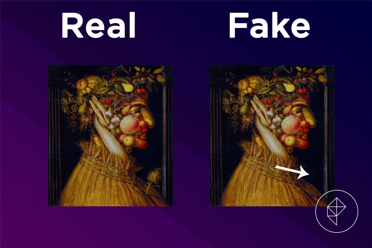 A comparison showing that the fake version of the Jolly Painting is missing a flower on his chest.