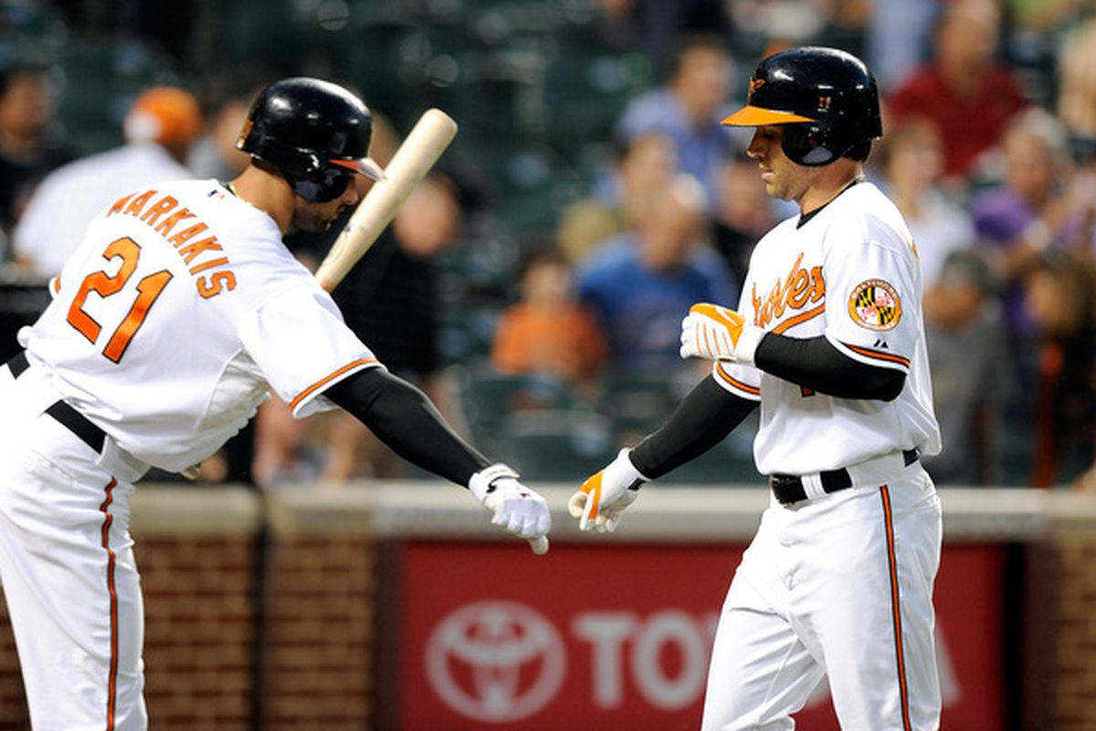 Brian Roberts and Nick Markakis each had a pretty good week. (Photo by Greg Fiume/Getty Images)