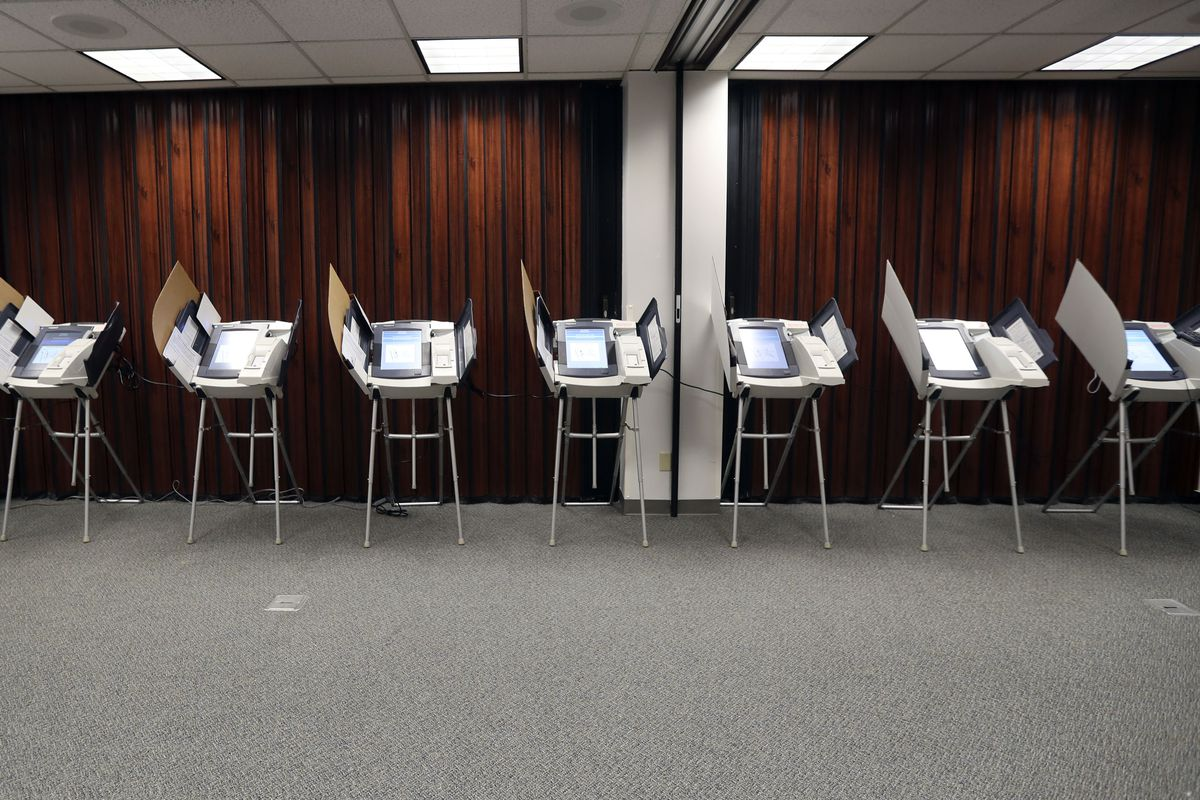 Voter booths are pictured at the Salt Lake County Government Center in Salt Lake City on Election Day, Tuesday, Nov. 5, 2019.