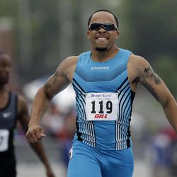 Wallace Spearmon reacts as he wins the men's special 200-meter dash at the Drake Relays athletics meet, Saturday, April 28, 2012, in Des Moines, Iowa.
