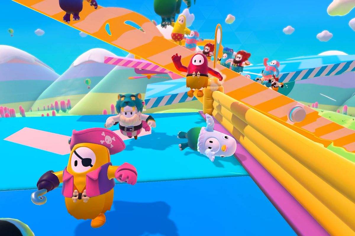 Fall Guys characters race to the finish line.