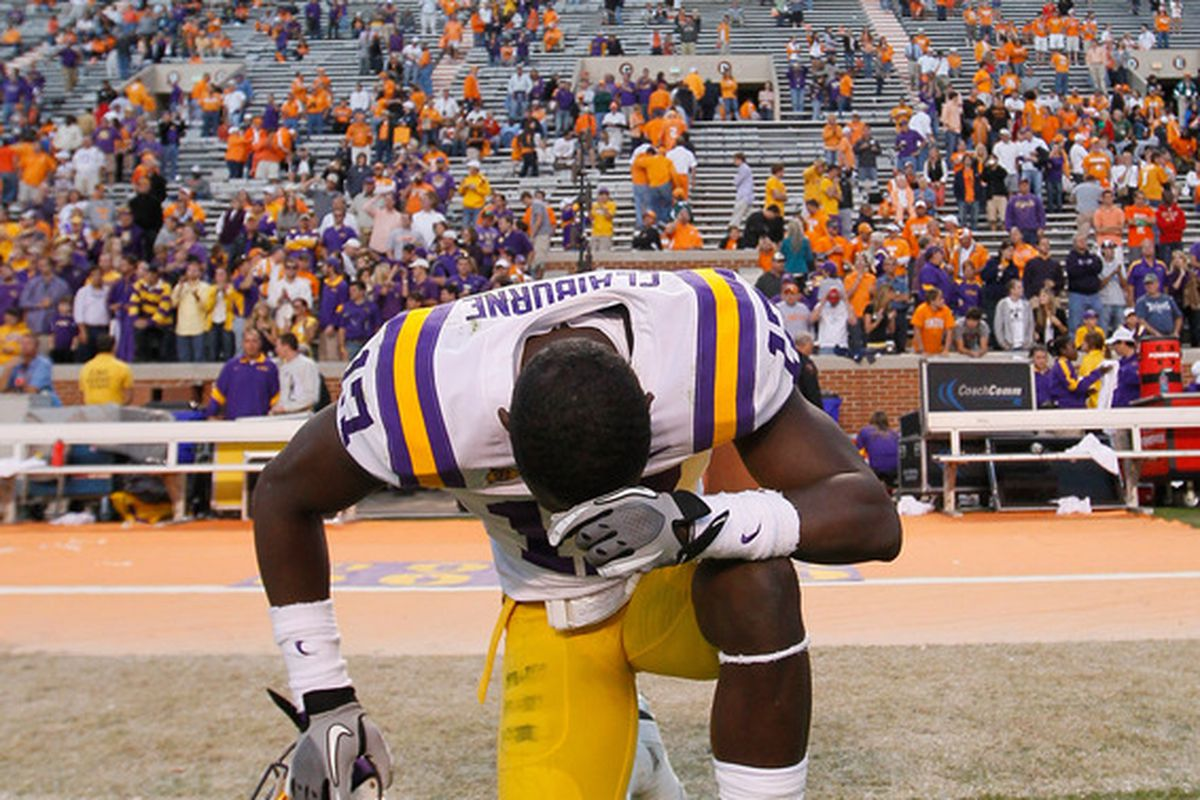 KNOXVILLE, TN - OCTOBER 15:  Morris Claiborne #17 of the LSU Tigers reacts after their 38-7 win over Tennessee Volunteers at Neyland Stadium on October 15, 2011 in Knoxville, Tennessee.  (Photo by Kevin C. Cox/Getty Images)