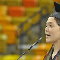 Jill Aoki, the Huntsman valedictorian, spoke to business graduates on Saturday.