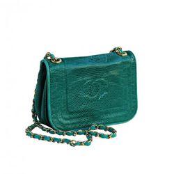 Chanel green snakeskin bag