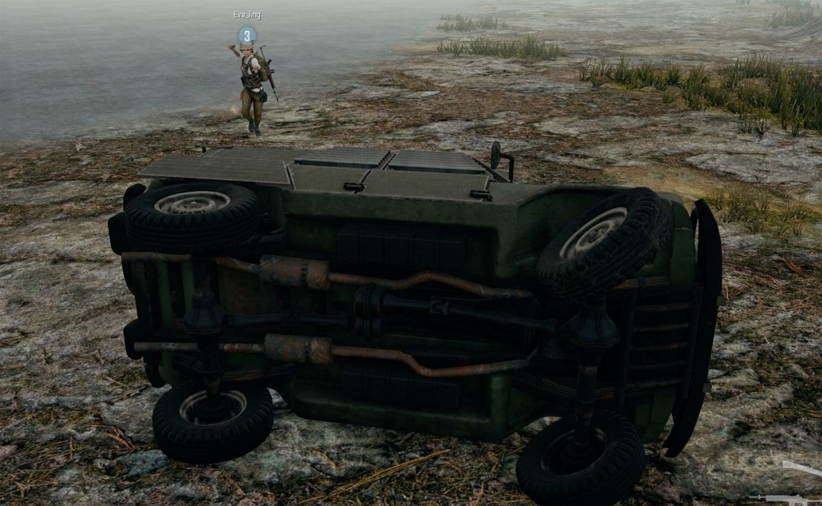 An armored UAZ tipped on its side in the Steel Rain game mode for PlayerUnknown's Battlegrounds