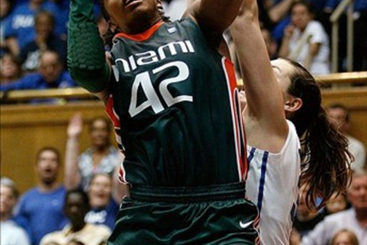Miami's Shenise Johnson now has some mighty big shoes to fill. Analyst Carolyn Peck called her a combination of Teresa Edwards and Sheryl Swoopes in today's pre-draft conference call. (Credit: Mark Dolejs-US PRESSWIRE)