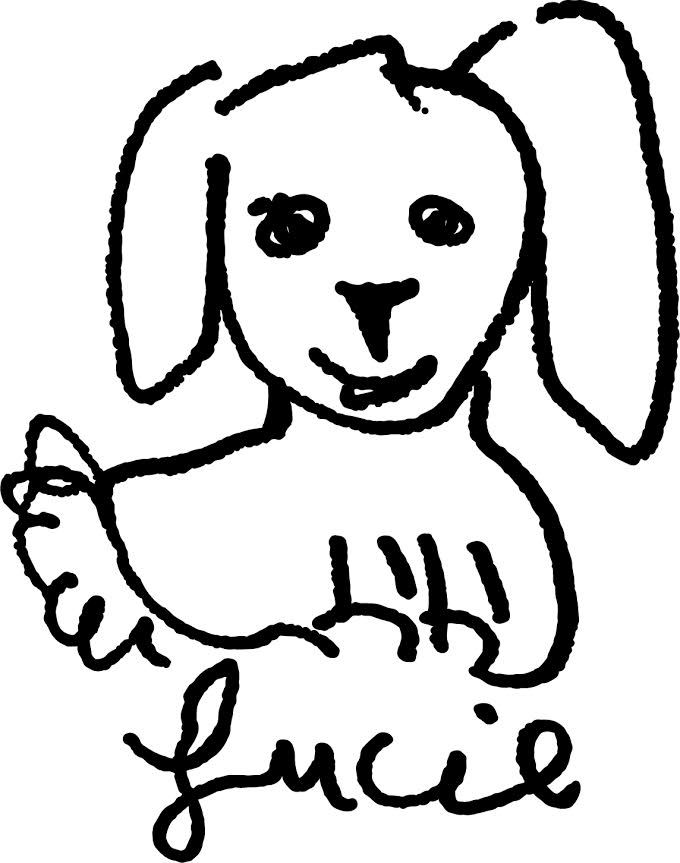 """Celebrity Dining: A line drawing of a friendly dog with the word """"Lucie"""" below it"""