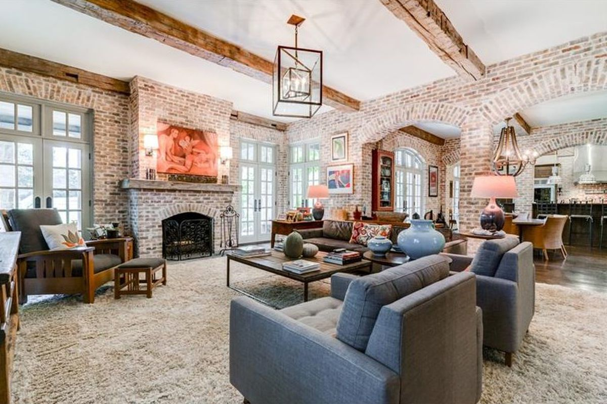 Large family room with fireplace.