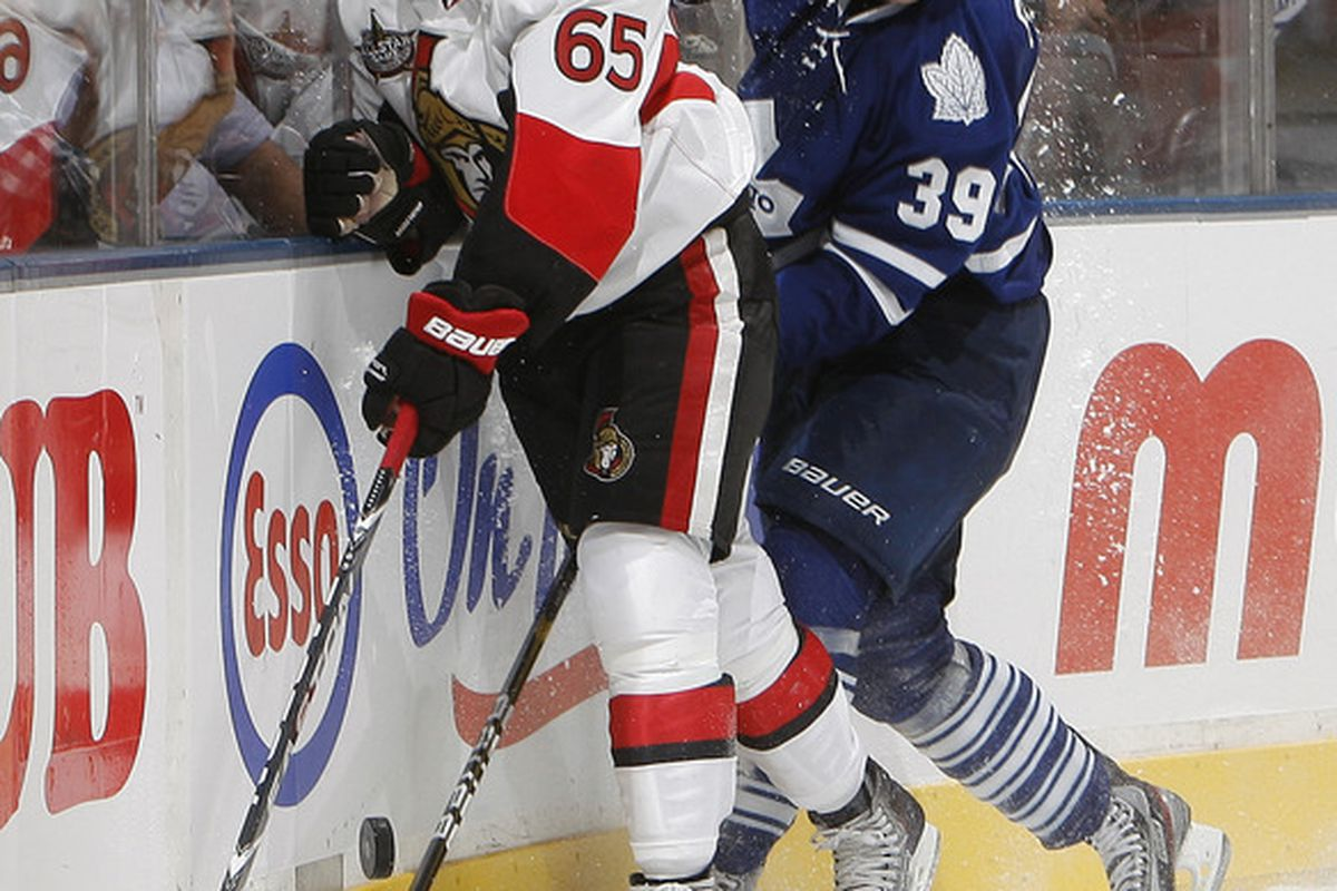 Erik Karlsson appears to be taller than this Leafs guy. (Photo by Abelimages/Getty Images)