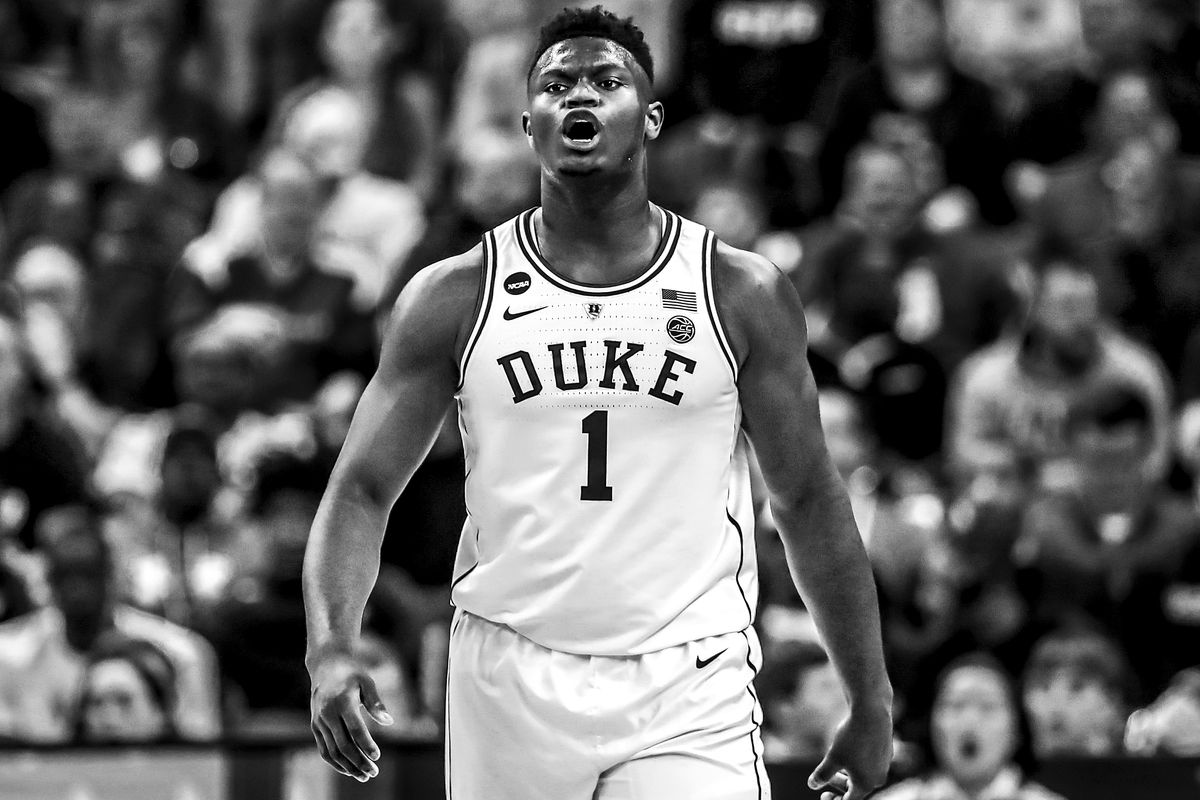 e1adece101a1 ... Zion Williamson  1 of the Duke Blue Devils reacts against the North  Dakota State Bison in the first half during the first round of the 2019  NCAA Men s ...