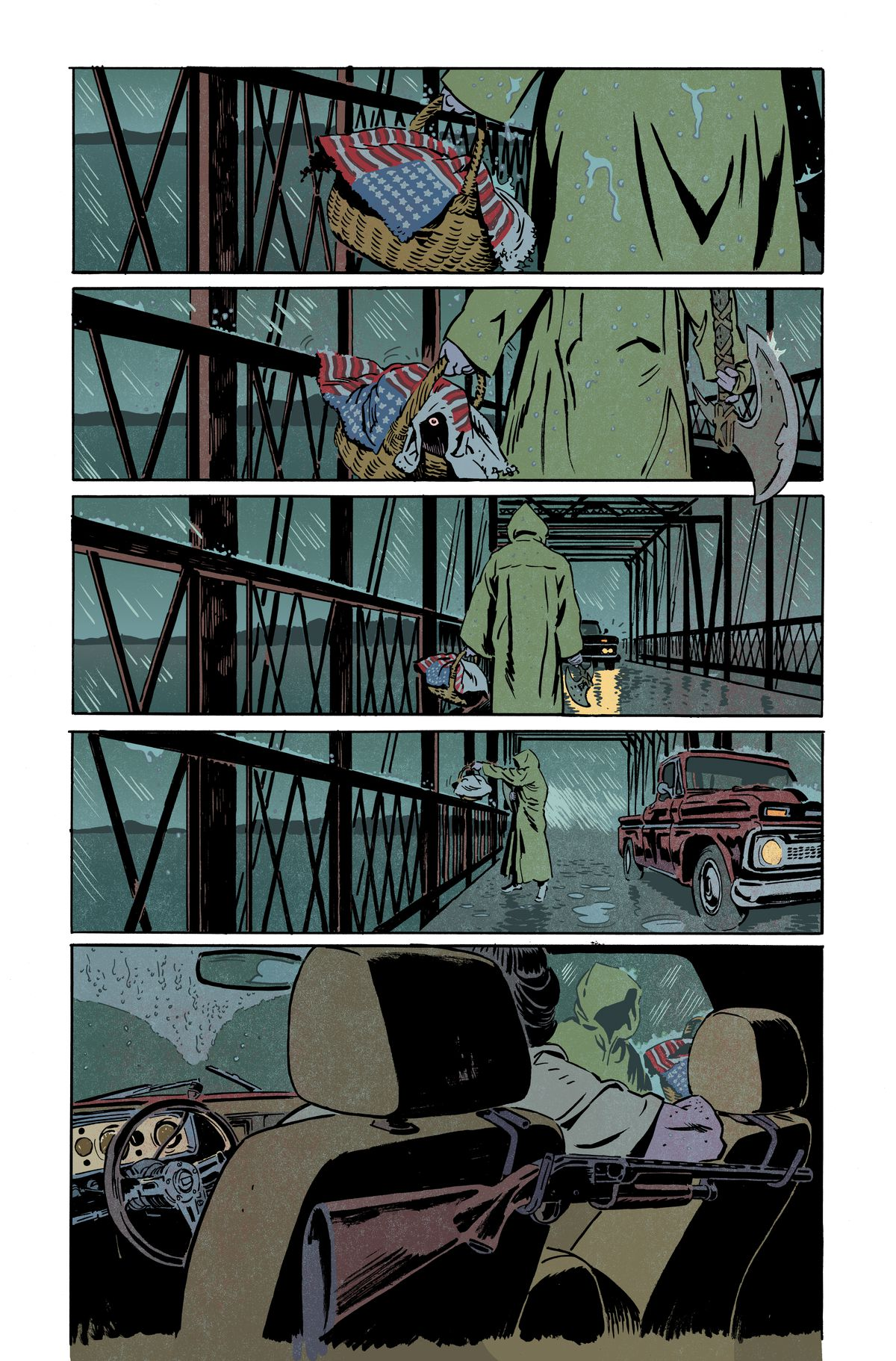 A figure in a rain slicker walks across a rainswept bridge, carrying axe and in the other a basket covered with an American flag. A yellow eye stares from beneath the flag. Unlettered page from Basketful of Heads #1, DC Comics (2019).